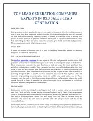 TOP LEAD GENERATION COMPANIES - EXPERTS IN B2B SALES LEAD GENERATION.doc