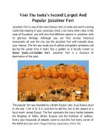 Visit The India's Second Largest And Popular Jaisalmer Fort.pdf