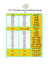 توزيع الأسابيع الدراسية الفصل الدراسي 1434  1435 هـ (1).doc
